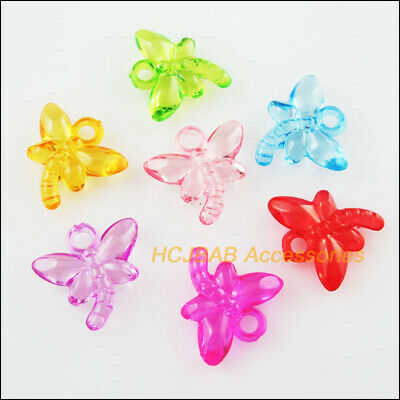 70 New Moon Star Charms Acrylic Plastic Pendants Clear Mixed 13x20mm