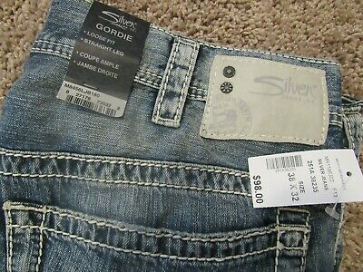 14f80add Silver Gordie Mens Size W38 L32 Loose Fit Straight Leg Blue Jeans New With  Tags