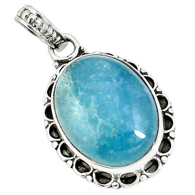 14.72cts Natural Blue Aquamarine 925 Sterling Silver Pendant Jewelry M85574