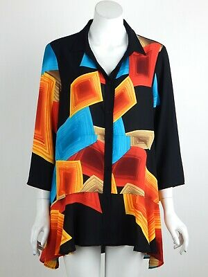 Joseph Ribkoff Sheer Top Tunic Blouse Multicolor Button Front High Low Sz 10 New