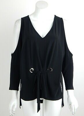 Joseph Ribkoff Tunic Top Black Cold Shoulder Sleeves Tie-front Grommets Sz 8 New