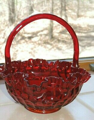 Vintage 1960'S Fenton Ruby Red Ruffled Glass Thumb Print Basket Mint With Label