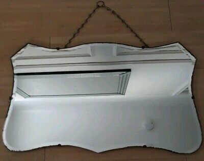 Vintage 1930s Art Deco fab shape bevelled edge wall mirror