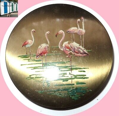 Vintage Made in Stratton England Flamingo Painted Gold Pl. Powder Mirror Compact