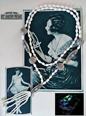 ANTIQUE 20s ART DECO CZECH NEIGER BEADS TASSEL NECKLACE EGYPTIAN REVIVAL URANIUM