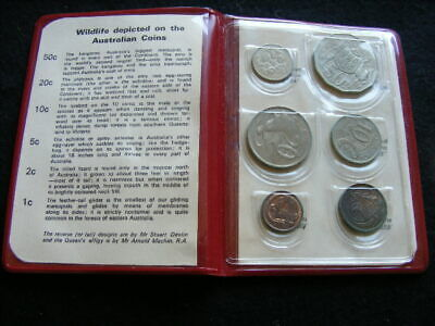 1973 Royal Australian Uncirculated Mint Coin Set in Red Plastic Wallet