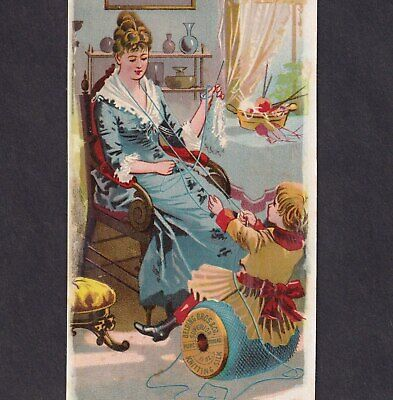 Belding Sewing Thread 1800's Mother Knitting Basket Spool Victorian Trade Card