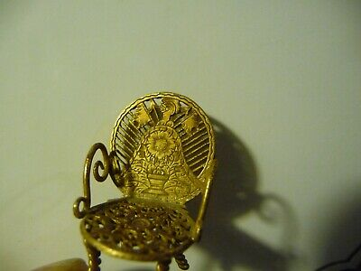 Miniature Doll's chair made from 18th C. Pocket Watch Cock parts.Pierced Brass(2