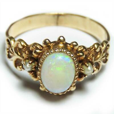 10K Yellow Gold Vintage Opal Ring Ring 2.8g Size 5.5