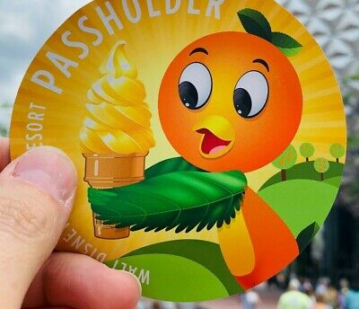 "Disney Inspired Florida Orange Bird with Dole Whip Round Magnet 4"" x 4"""