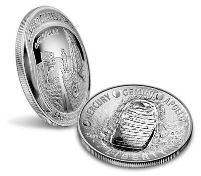 Apollo 11 50th Anniversary 2019 Proof Silver (99.9%) Dollar, Limited Mintage