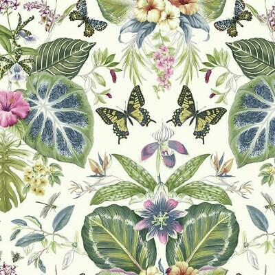 Wallpaper Designer Tropical Leaves with Florals with Butterflies on Eggshell