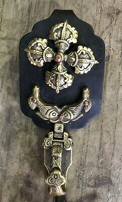 Collectable Japanese Katana Sword Talisman Cross Belt buckle hanging Oxhide