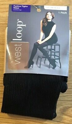 11c35ea968a48 WEST LOOP ~ Fashion Tights Ribbed Control Top Size S/M Black Opaque ...