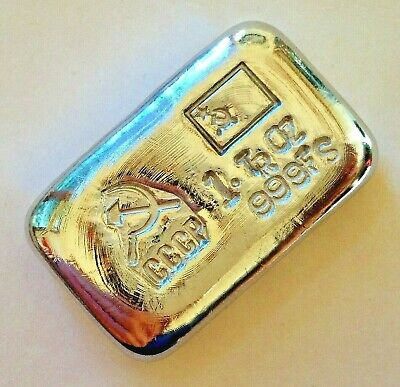 1oz SILVER hand poured bar 999 CCCP / USSR soviet communist. Pure solid silver