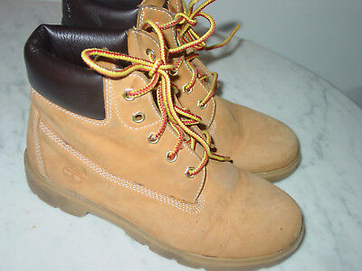 e7a33178ec8 TIMBERLAND NUBUCK WHEAT Lace Up Work Boots Boys Size 7 Style 10960 ...