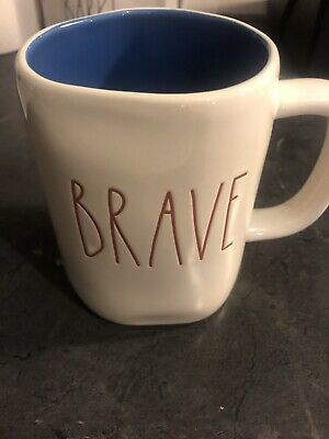 """New RAE DUNN Red LL """"BRAVE"""" 4th Of July Mug With Blue Inside By Magenta"""