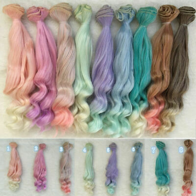 25cm Long DIY Colorful Ombre Curly Wave Doll Wigs Synthetic Hair For Dolls 1# Hi