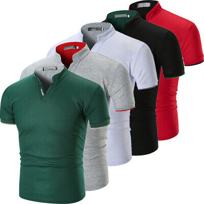 UK Mens Slim Fit Short Sleeve V-Neck Casual Cotton T-Shirt Tops Muscle Tee Shirt