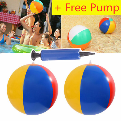 """Inflatable Blow Up Panel PVC Beach 12 14 16"""" Ball Holiday Swimming Pool Toy+Pump"""