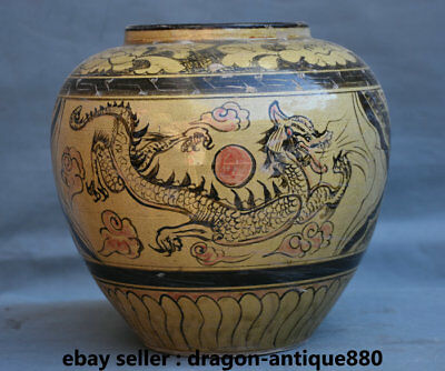 26CM Old Chinese cizhou Kiln Porcelain Dynasty Dragon Phoenix Pot Jar Crock