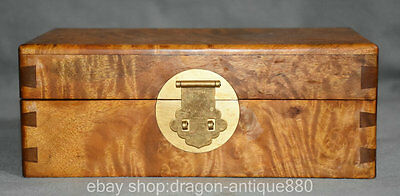 21CM Chinese Silkwood Wood Dynasty Palace Carving Square Storage Jewelry Box