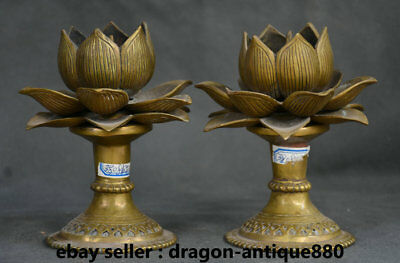 """6"""" Old Chinese Copper Bronze Dynasty Lotus Candle Holder Candlestick Statue Pair"""