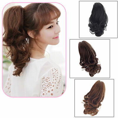 Womens Short Wavy Curly Claw Ponytail Clip in/on Hair Extension Hairpiece ~ 2019