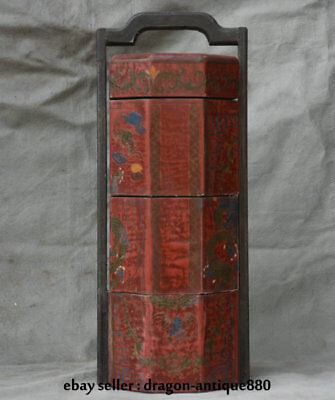 "15.6"" Old Chinese Wood Lacquerware Painting Dynasty Dragon Portable Food Box"