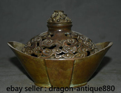 """6.8"""" Marked Rare Old Chinese Bronze Dynasty Yuanbao Statue Incense Burner Censer"""