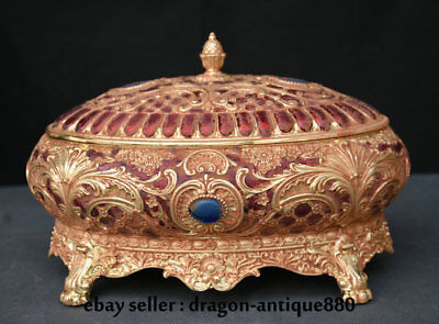 "11"" Chinese Royal Palace Old Antique Copper Gilt Hand-Carving Flower Jewelry box"