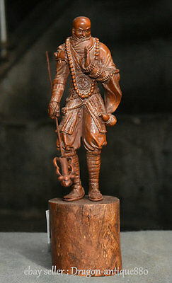 """8"""" Old Chinese Boxwood Wood Carving Stand Warrior Monks Gourd Statue Sculpture"""