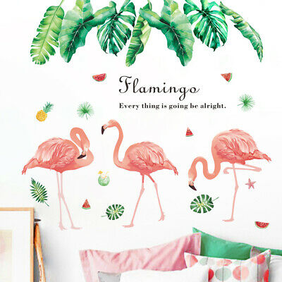 UK Flamingo Palm Leaves Wall Art Decor Vinyl Stickers Decals Bedroom Mural Gift