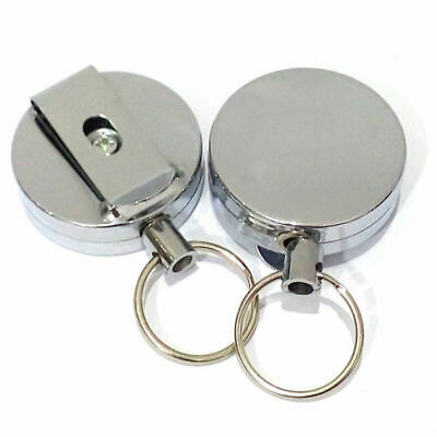 Retractable Key Chain Ring Keyring Heavy Duty Stainless Steel Cord Wire Best