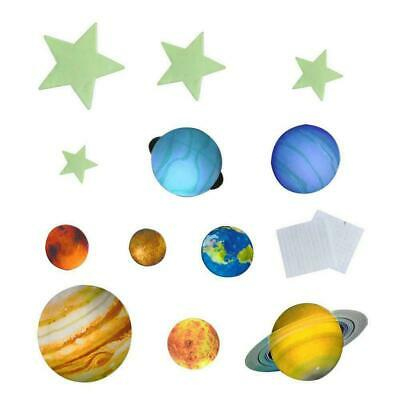 Glow In The Dark 9# Planets Solar System Wall Stickers Decal Kids Room Decor New