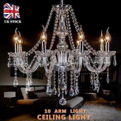 Crystal Chandelier Ceiling Light Clear Droplets Pendant Lamp 10 Arm Light Modern