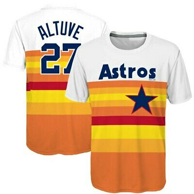 9301de9c5 HOUSTON ASTROS COOL Base Youth Jose Altuve Alternate Orange Jersey L ...
