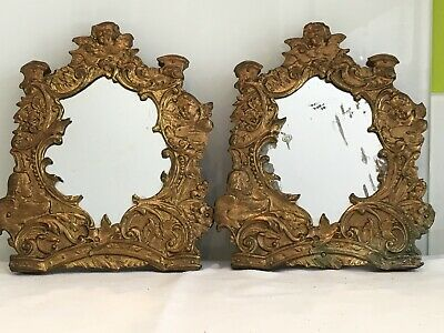 Pair Of Small French Antique Repousse Gilt Metal Framed  Mirrors, Putti, Cherub
