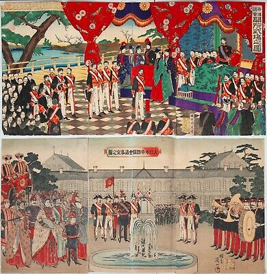 Set of 5 Triptychs, Meiji Emperor, Original Japanese Woodblock Print,Ukiyo-e