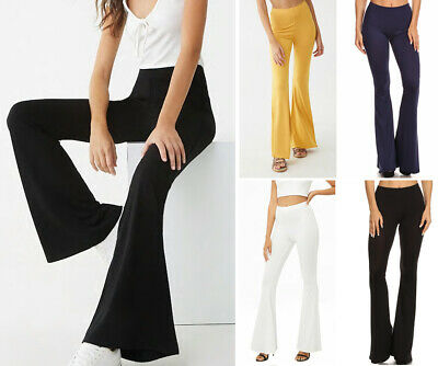 S-L Solid Colors Flare Leg Stretch Pants Long High Waist Bell Bottom Yoga Casual