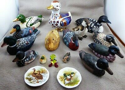 Collection of 15 Duck Figures + 2 Miniature Plates (wood, resin, ceramic, glass)