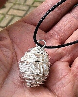 DESERT / SAND ROSE SELENITE IN PENDANT SPIRAL 30mm NECKLACE CORD BAG & ID CARD