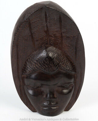 Antique African Mask Ornament Congo Carved Hardwood Vintage Woman's Face Ebony