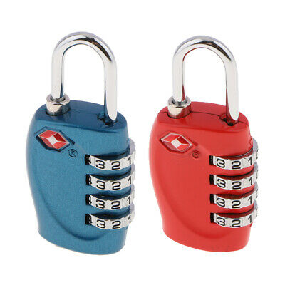 2PK TSA Approved Luggage Suitcase Lock,4Digit Combination Lock Deep Blue+Red