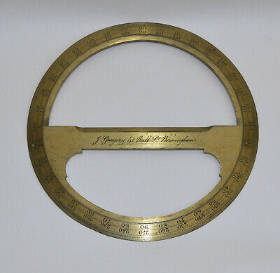 Lacquered brass circular protractor - J. Gargory, 41 Bull St., Birmingham.