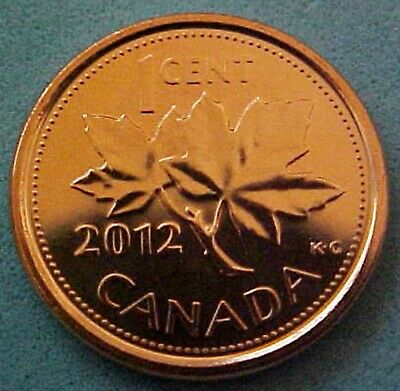 Two 2012 Canadian Pennies 1 Magnetic & 1 Non-Magnetic Both From Mint Rolls