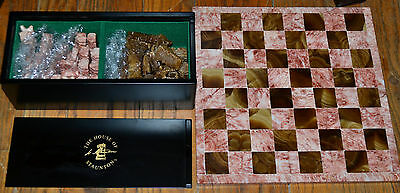 Carved Stone and Marble Chess Set Easter Island Heads in House of Staunton Box