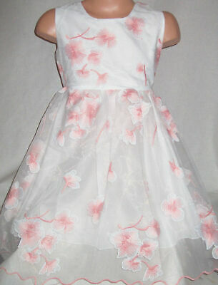 GIRLS PINK EMBROIDERED ORIENTAL FLORAL BLOSSOM PRINCESS PROM PARTY DRESS age 8-9