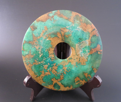 Old Chinese jade,noble collection,manual sculpture,Green jade,Bi (disc) #428