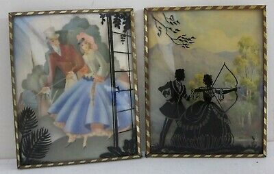 2 Antique Miniature Reverse Painted Victorian Silhouettes on Bubble Glass 4x5